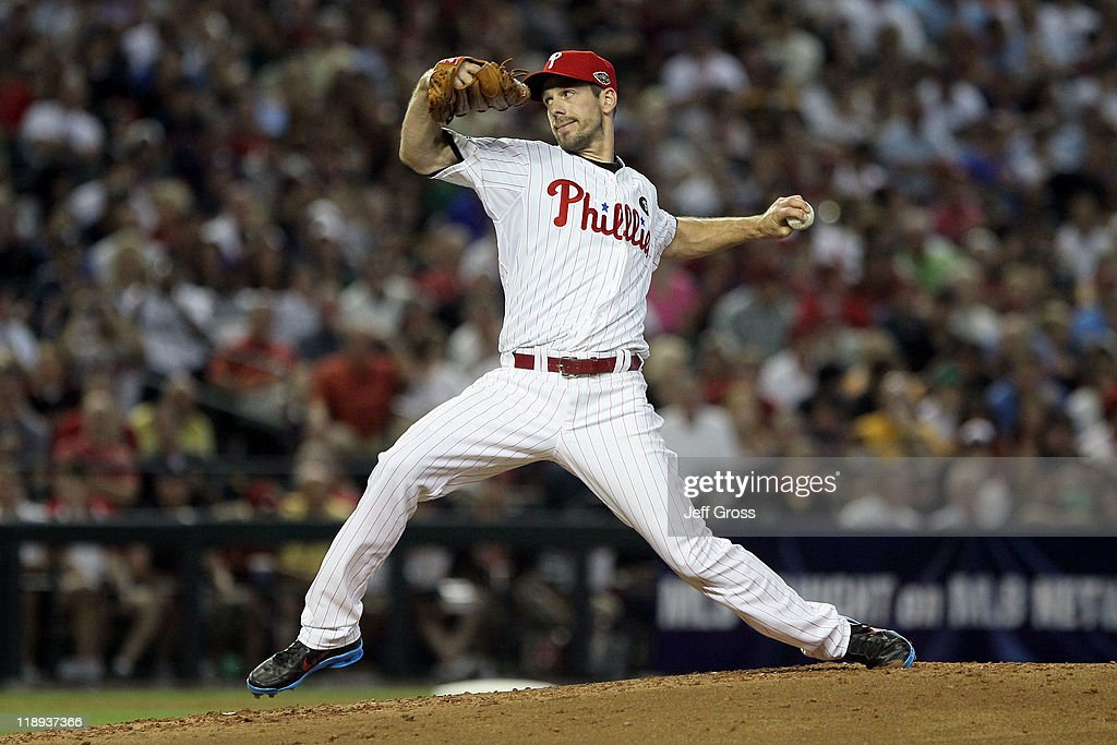National League AllStar Cliff Lee of the Philadelphia Phillies throws a pitch in the third inning of the 82nd MLB AllStar Game at Chase Field on July...