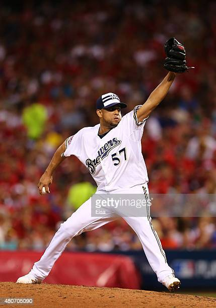 National League AllStar Francisco Rodriquez of the Milwaukee Brewers throws a pitch in the seventh inning against the American League during the 86th...