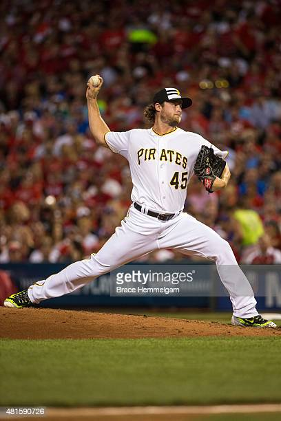 National League AllStar Gerrit Cole of the Pittsburgh Pirates pitches during the 86th MLB AllStar Game at the Great American Ball Park on July 14...