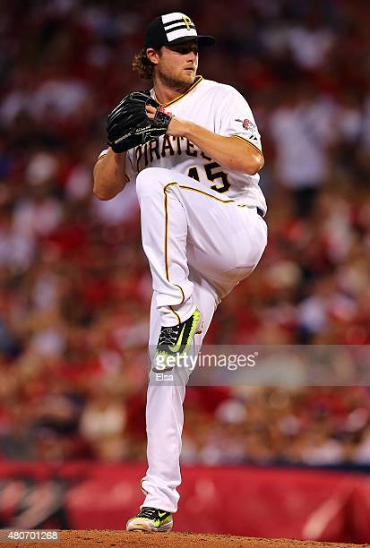 National League AllStar Gerrit Cole of the Pittsburgh Pirates throws a pitch in the third inning against the American League during the 86th MLB...