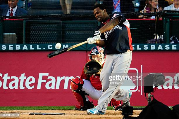 National League AllStar Hanley Ramirez of the Florida Marlins at bat during the second round of the 2010 State Farm Home Run Derby during AllStar...
