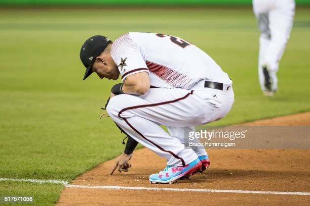 National League AllStar Jake Lamb of the Arizona Diamondbacks looks on during the 88th MLB AllStar Game at Marlins Park on July 11 2017 in Miami...