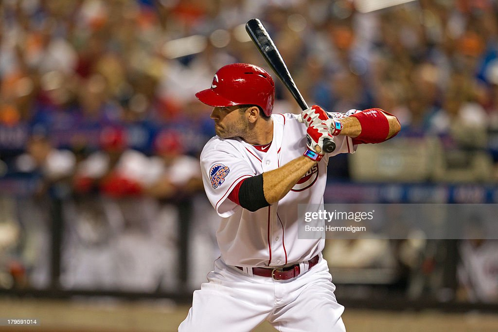 National League All-Star Joey Votto #19 of the Cincinnati Reds bats during the 84th MLB All-Star Game on July 16, 2013 at Citi Field in the Flushing neighborhood of the Queens borough of New York City. The American League defeated the National League 3-0.