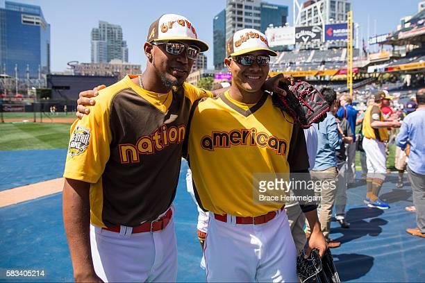 National League AllStar Julio Teheran poses for a photo with American League AllStar Jose Quintana of the Chicago White Sox during Gatorade AllStar...