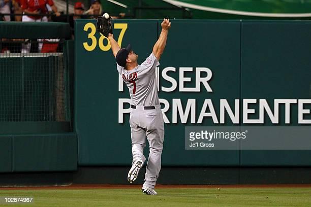 National League AllStar Matt Holliday of the St Louis Cardinals runs to catch the ball during the 81st MLB AllStar Game at Angel Stadium of Anaheim...
