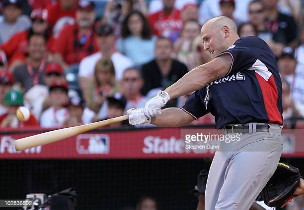 National League AllStar Matt Holliday of the St Louis Cardinals swings the bat during the first round of the 2010 State Farm Home Run Derby during...