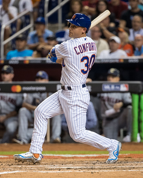 finest selection cc2fc f35e4 MIAMI, FL - JULY 11  National League All-Star Michael Conforto  30 of the New  York Mets bats during the 88th MLB All-Star Game at Marlins Park on July  11, ...