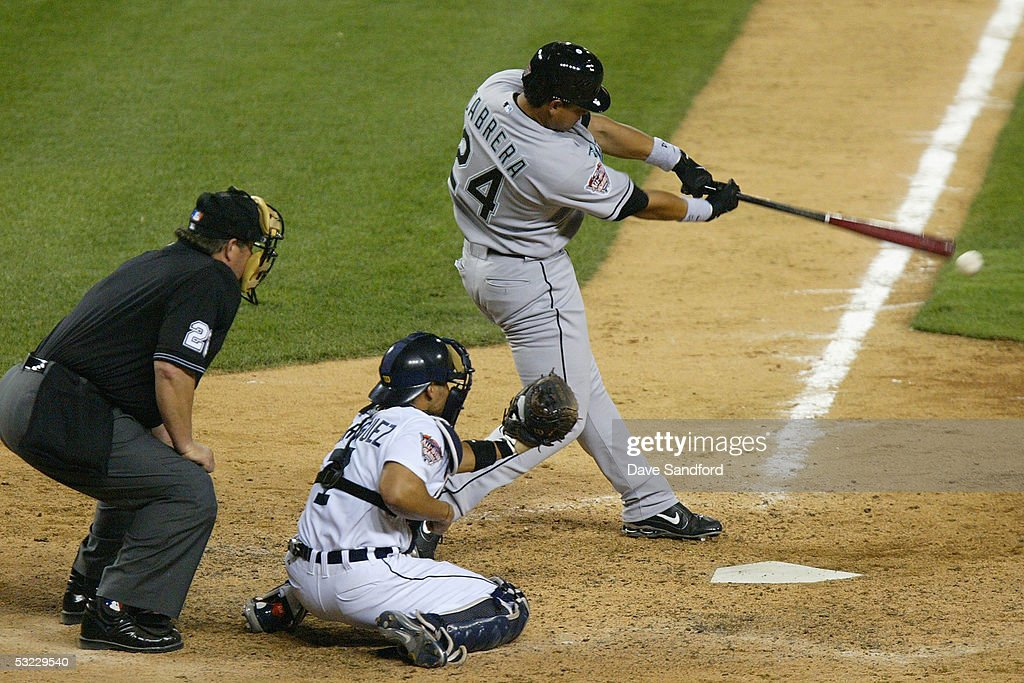 National League AllStar Miguel Cabrera of the Florida Marlins hits a rbi single in the eighth inning of the 76th Major League Baseball AllStar Game...