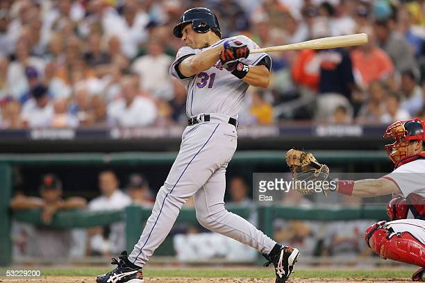 National League AllStar Mike Piazza of the New York Mets swings at a pitch in the second inning of the 76th Major League Baseball AllStar Game on...