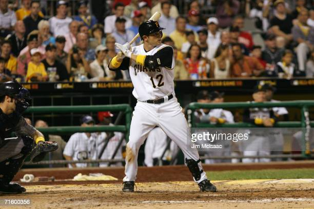 National League AllStar second baseman Freddy Sanchez bats against the American League during the 77th MLB AllStar Game on July 11 2006 at PNC Park...