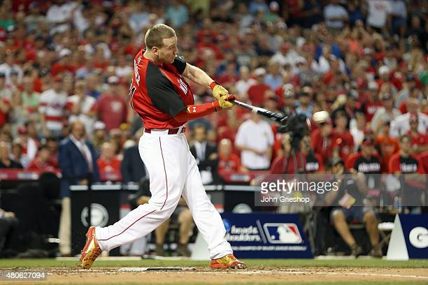National League AllStar Todd Frazier of the Cincinnati Reds hits a home run during the semifinals of the Gillette Home Run Derby presented by Head...