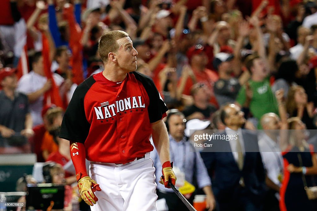 National League AllStar Todd Frazier of the Cincinnati Reds looks on after batting during the Gillette Home Run Derby presented by Head Shoulders at...