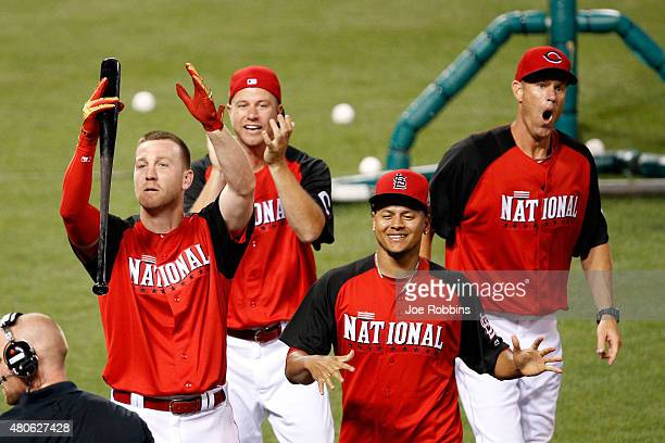 National League AllStar Todd Frazier of the Cincinnati Reds celebrates with his brothers Jeff Charlie and teammate National League AllStar Carlos...