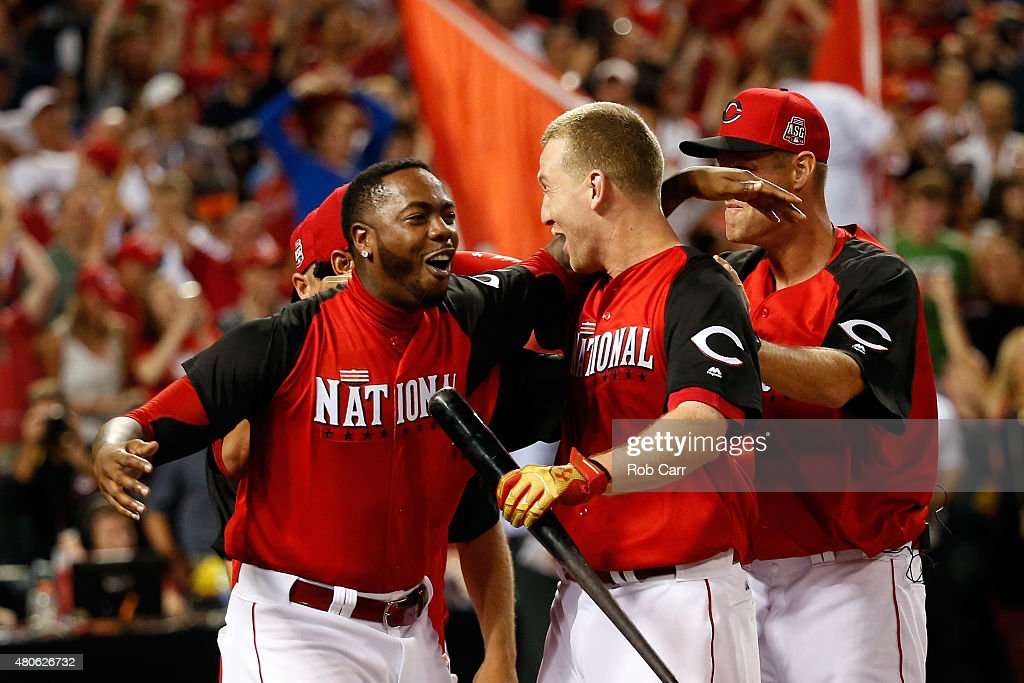 National League AllStar Todd Frazier of the Cincinnati Reds celebrates with teammate National League AllStar Aroldis Chapman of the Cincinnati Reds...