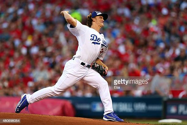 National League AllStar Zack Greinke of the Los Angeles Dodgers throws a pitch in the first inning against the American League during the 86th MLB...
