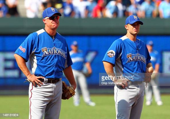 National League AllStars Chipper Jones of the Atlanta Braves and David Wright of the New York Mets look on during the 83rd MLB AllStar Game at...