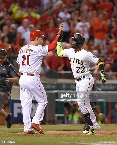 National League AllStars Todd Frazier of the Cincinnati Reds and Andrew McCutchen of the Pittsburgh Pirates highfive during the 86th MLB AllStar Game...