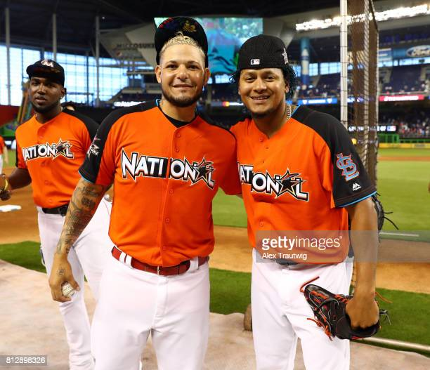 National League AllStars Yadier Molina and Carlos Martinez of the St Louis Cardinals are seen during batting practice before the 88th MLB AllStar...