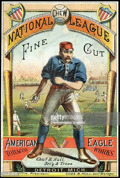 National League Chew tobacco naturally uses a baseball to sell the product with this trade card printed in Detroit Michigan circa 1880