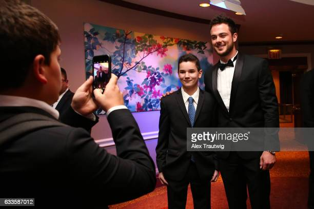 National League MVP Kris Bryant poses for a a photo during the 2017 Baseball Writers' Association of America awards dinner on Saturday January 21...