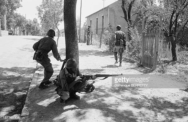 FLN National Liberation Front ALN National Liberation Army troops of Wilayah 4 marching on Algiers on September 1962 in the district of Medea in...