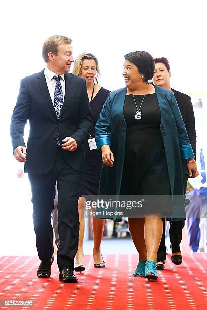 National MP Dr Jonathan Coleman and incoming Deputy Prime Minister Paula Bennett make their way to a National Party caucus meeting at Parliament on...
