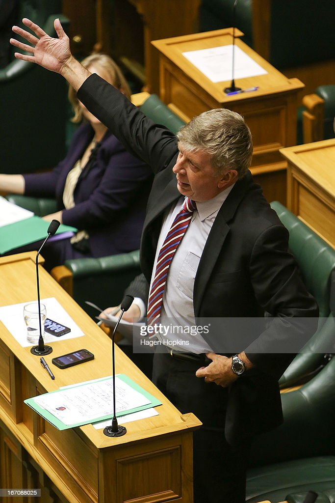 National MP Maurice Williamson speaks during the third reading and vote on the Marriage Equality Bill at Parliament House on April 17, 2013 in Wellington, New Zealand. If the Marriage Equality Bill, proposed by Labour MP Louisa Wall, passes the vote, same-sex marriage would become legal in New Zealand.