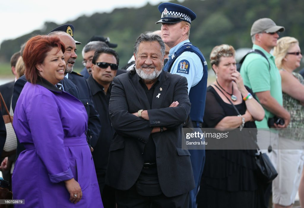 National MP Paula Bennett (L) and Maori Party co-leader Pita Sharples arrive at Te Tii Marae on February 5, 2013 in Waitangi, New Zealand. The Waitangi Day national holiday celebrates the signing of the treaty of Waitangi on February 6, 1840 by Maori chiefs and the British Crown, that granted the Maori people the rights of British Citizens and ownership of their lands and other properties.