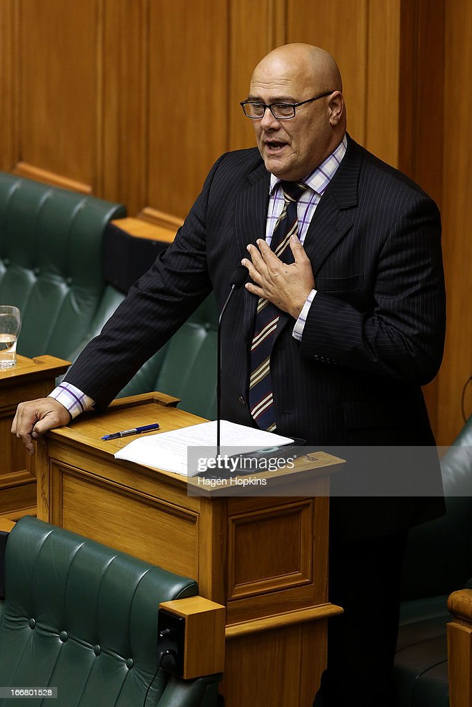 National MP Tau Henare speaks during the third reading and vote on the Marriage Equality Bill at Parliament House on April 17, 2013 in Wellington, New Zealand. If the Marriage Equality Bill, proposed by Labour MP Louisa Wall, passes the vote, same-sex marriage would become legal in New Zealand.