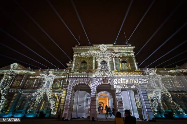 National Museum of Singapore at night during Night Festival - August 24, 2017