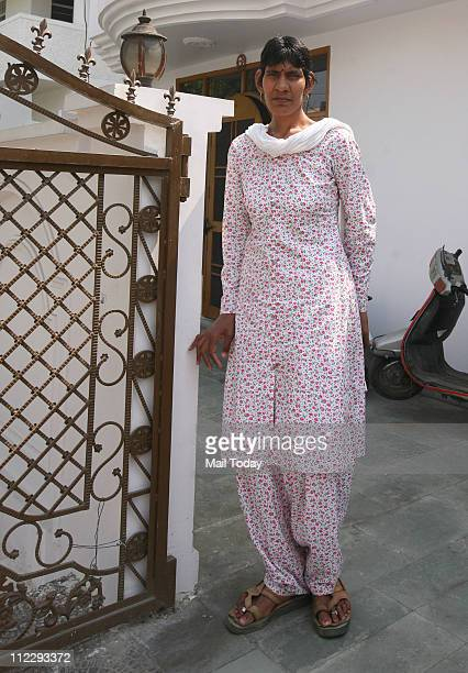 National Netball Player Swetlana at her residence in Defence Colony 7'3'' tall Swetlana is the second tallest woman alive