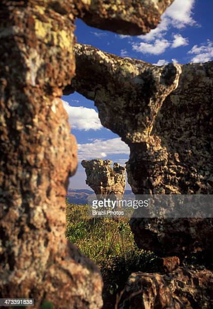 National Park of Chapada dos Guimaraes Cidade de Pedra rock formations of sandstone carved by wind and rain in Mato Grosso state Brazil Chapada dos...
