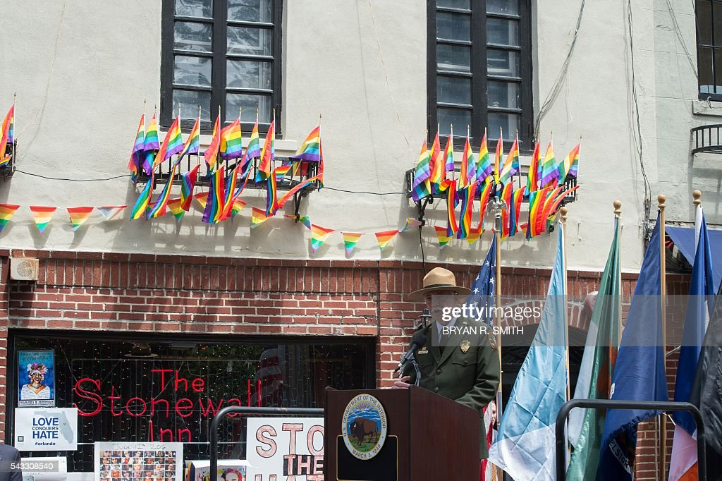US National Park Service Director Jonathan Jarvis speaks as Mayor Bill de Blasio joins elected officials, advocates and New Yorkers in designating Stonewall Inn a National Monument on June 27, 2016 in New York. / AFP / Bryan R. Smith