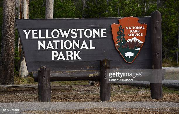 National Park Service sign welcomes visitors to Yellowstone National Park in Wyoming