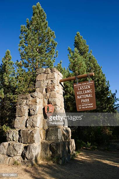 National park sign, Lassen Volcanic National Park, California