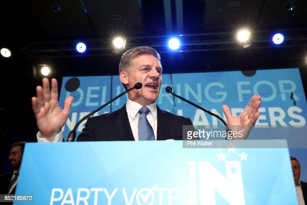 National Party leader Bill English addresses his supporters on September 23 2017 in Auckland New Zealand With results too close to call no outright...