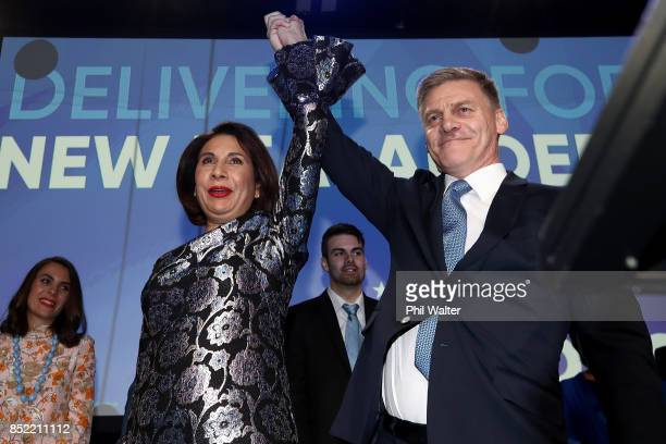 National Party Leader Bill English and his wife Mary English greet supporters at Sky City on September 23 2017 in Auckland New Zealand With results...