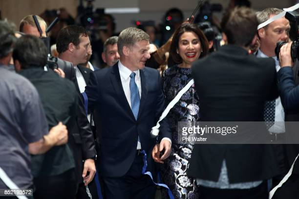 National Party leader Bill English celebrates with his wife Mary English on September 23 2017 in Auckland New Zealand With results too close to call...