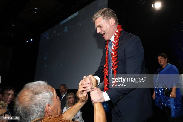 National Party Leader Bill English greets supporters on September 23 2017 in Auckland New Zealand With results too close to call no outright winner...