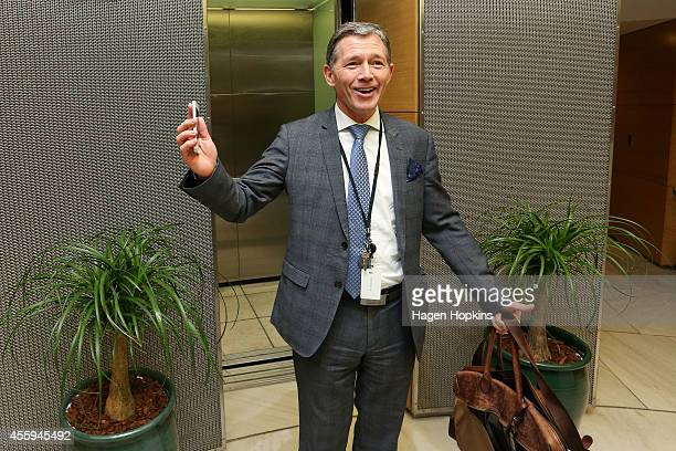 National Party president Peter Goodfellow poses for media at The Beehive on September 23 2014 in Wellington New Zealand On Saturday evening National...