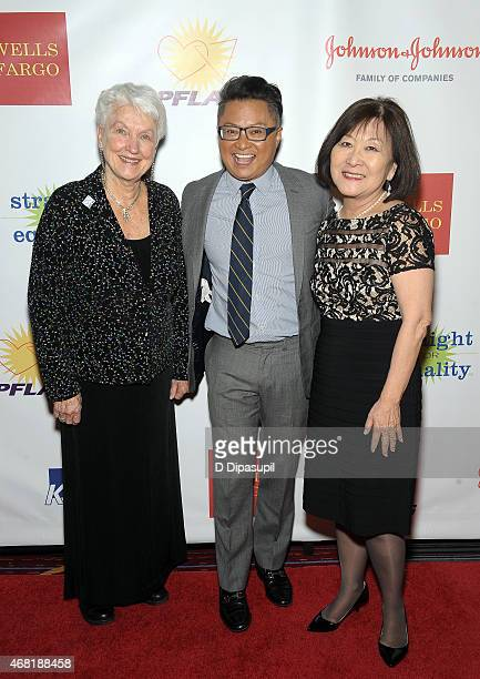 National PFLAG President Jean Hodges actor Alec Mapa and author Marsha Aizumi attend the 7th Annual PFLAG National Straight For Equality Awards Gala...