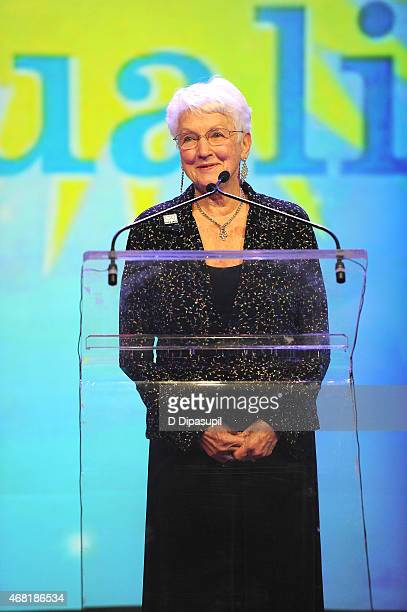 National PFLAG President Jean Hodges speaks onstage at the 7th Annual PFLAG National Straight For Equality Awards Gala at The New York Marriott...