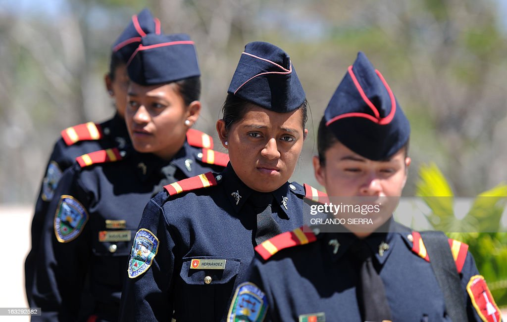 National Police Academy (ANAPO) female cadets parade in Tegucigalpa, on March 7, 2013. The International Women's Day will be celebrated Friday .