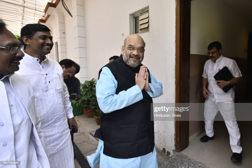 BJP National President Amit Shah after the party's Parliamentary Board meeting to announce their Presidential candidate, on June 19, 2017 in New Delhi, India. Bihar Governor Ramnath Kovind was named as NDA's nominee for presidential poll.