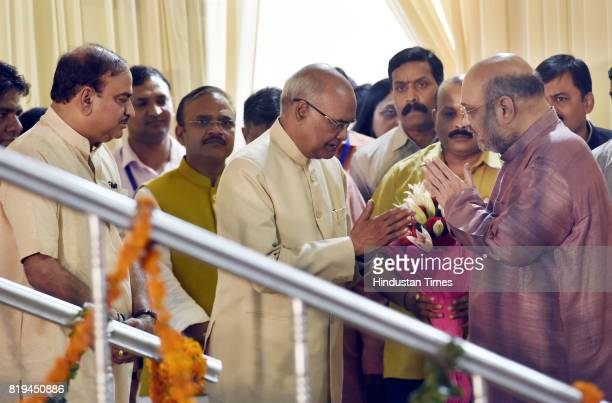 National President Amit Shah and other ministers greet newly elected President of India Ram Nath Kovind after his win in Presidential election at 10...