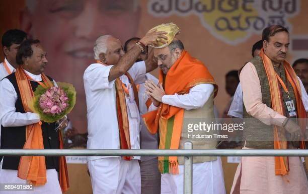 BJP national president Amit Shah and Union minister Ananth Kumar during the inauguration of party's Parivartan Yatra at Bengaluru International...