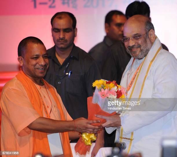 National President Amit Shah and Uttar Pradesh Chief Minister Yogi Adityanath during the Utter Pradesh BJP State Working Committee Meeting to discuss...