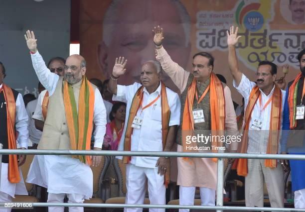 BJP national president Amit Shah BJP Karnataka president and chief minister candidate Yeddurappa Union ministers Ananth Kumar and Sadanand Gowda...
