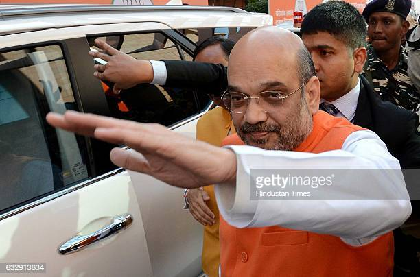National President Amit Shah coming out after releasing the party's manifesto for the UP assembly election on January 28 2017 in Lucknow India BJP...