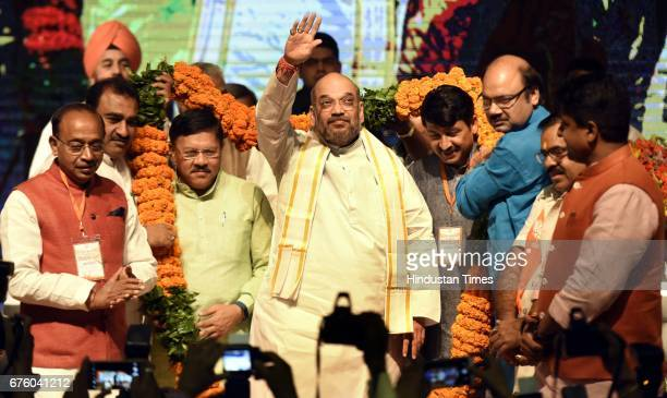National President Amit Shah Delhi BJP President Manoj Tiwari Union sSports Minister Vijay Goel Union Minister for Science and Technology Harsh...